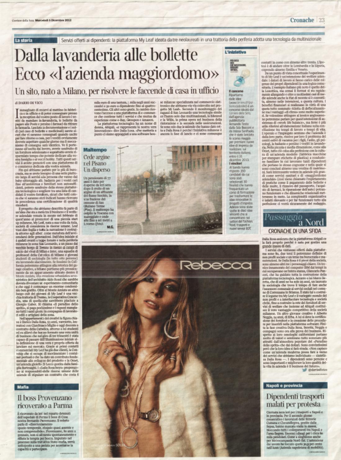 2012 12 05 Corriere della Sera Articolo Dario De Vico